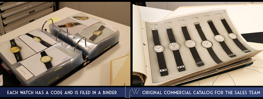 Each watch has a code and is filed in a binder | Original commercial catalogue for the sales team