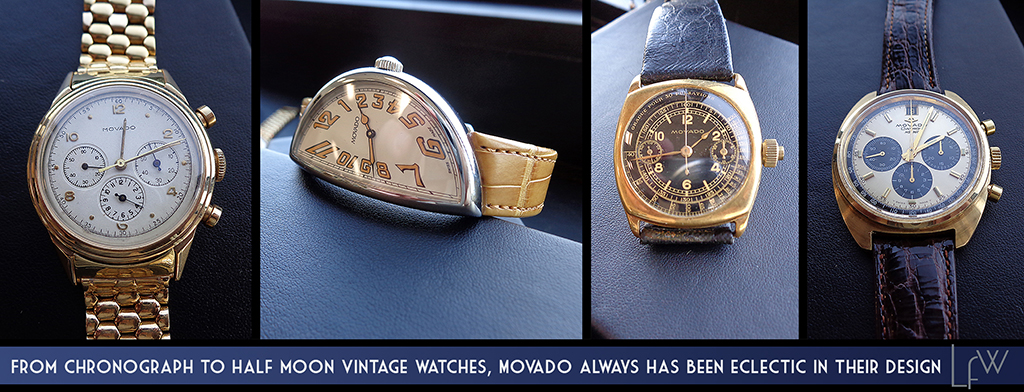 From Chronograph to Half Moon vintage watches, Movado always has been eclectic in their designs